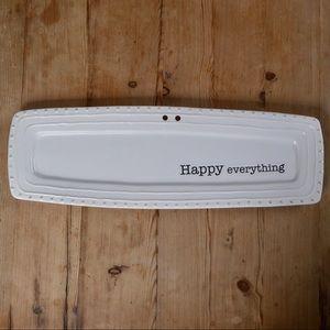 White Happy Everything Ceramic Tray by Mudpie